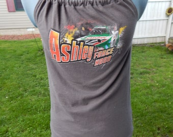 Ashley Force NHRA Upcycled Women's Tank Top T-shirt OOAK Shirt Summer Shirt, Festival Clothes, Halter Top, hippie clothes