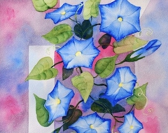 Blue Morning Glory ORIGINAL 12x16  floral geometric pink garden Watercolor Painting by Melanie Pruitt EBSQ