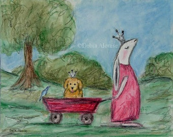 Princess Bunny Prince Puppy Rabbit Childrens Kids Art Original Painting Illustration by California Artist Debra Alouise