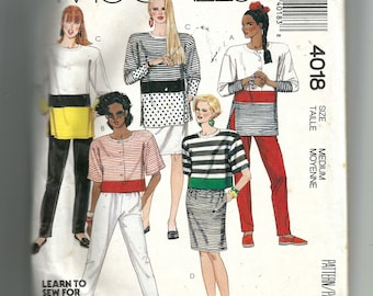 McCalls Misses' Tops, Skirt, Pants For Stretch Knits Only Pattern 4018