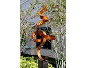 Abstract Metal Garden Art Modern Sculpture- Large Metallic Ribbon Indoor-Outdoor Statue - Copper Perfect Moment by Jon Allen