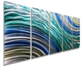 NEW! Blue, Teal, Gold & Silver Abstract Metal Wall Sculpture - Modern Painting - Metal Wall Art - Home Decor -Hydroelectric by Jon allen