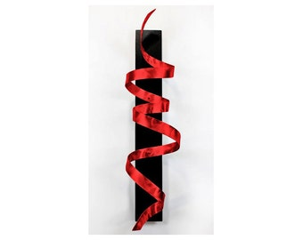 Red Modern Wall Sculpture - 3D Abstract Metal Art - Hanging Contemporary Decor - Wall Twist Accent - Black Knight Red by Jon Allen