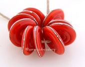 ORANGE Carrot RED fine silver wire Wavy Disks Lampwork Glass Beads - TANERES sra droplets