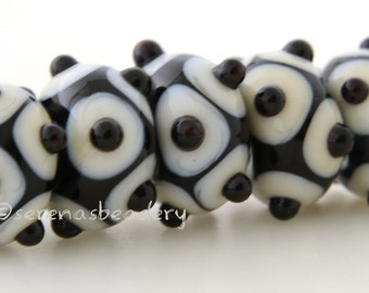 Lampwork Bead Set BLACK and IVORY Offset Dots Handmade Glass - TANERES sra