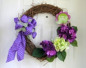 Hydrangea Wreath, Front Door Decor, Summer Floral Decoration, Hydrangea  Home Decor, Spring Hydrangeas, Purple and Lime Decoration