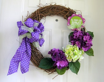 All Roads Lead Home Hydrangea Wreath, Front Door Decor,  Wedding Gift, Hydrangea  Home Decor, Spring Hydrangeas, Purple and Lime Decoration