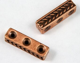 4mm x 15mm Antique Copper Tierracast Braided Three Hole Spacer Bar #CKC109