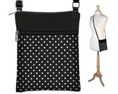 SALE Small Cross Body Purse  Polka Dot Crossbody Bag Sling Shoulder Bag Fits eReaders black white RTS