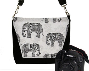 Medium Camera Bag Dslr Camera Case Bag Paisley Elephant Fabric Deluxe Messenger Bag Water Repellent gray black MTO