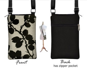 Floral iPhone 6 Plus Cell Phone Purse, Cute Fabric iPhone 6 case,   Unique Small Crossbody Bag, black, sand RTS