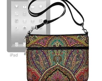 Cute iPad Air 2 Case,  Fits Ipad 4 3 2 1,  iPad Cover Fabric,  iPad Sleeve , iPad Bag Purse strap pocket paisley purple teal red MTO