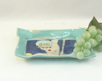 Salad plate - Lunch dish for cheese, bread, tapas -jewelry dish -  trinket or key bowl - spoon rest in blue