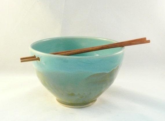 Pho Noodle Bowl - Extra Large Chopstick Bowl - Ceramic Rice Bowl with Chopsticks - Mothers Day - Pottery Noodle Bowl - Handmade ceramic bowl