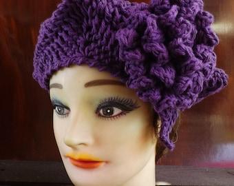 Mulberry Purple Beret Hat, Purple Crochet Hat Womens Hat Trendy, Crochet Beret Hat, Crochet Flower, Mulberry Purple Hat, LYNETTE Summer Hat