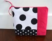 Zipper Pouch Make Up Bag - Black White Polka Dot with Pink