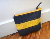 Zipper Pouch Make up Bag Purse Organizer - Dark Denim with Yellow Stripe