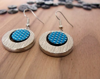 Turquoise background with black and white triangles | Dangle earrings | Drop earrings | Eco-friendly jewelry | Unique gifts for women