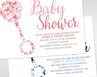 Baby Rattle Shower Invitation Printable Baby Shower Invitation