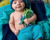 RTS Newborn - 3 month Baby Boy Knit Outfit BaBY PHoTo PRoP Tassel SToCKiNG CaP PaNT SET Turquoise Lime Stripe Beanie CoMiNG HoME Shower Gift
