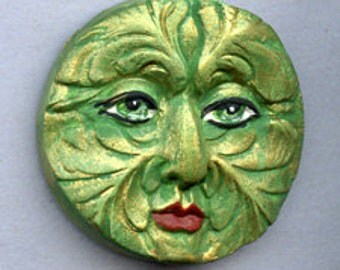 Polymer Clay  Detailed Round  Green Man  Face Cab Undrilled GMR 3