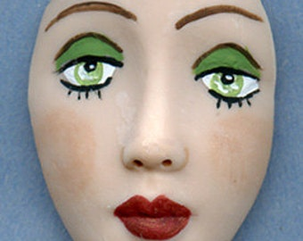 Polymer Clay  Detailed Art Doll Face Cab with Green Eyes FGRM 1