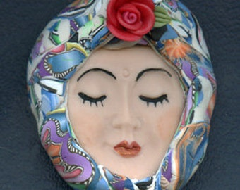 Polymer Clay OOAK   Detailed   Art Doll Face with hat Cab RRFH 1