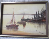 Vintage Sailboats on the Water Original Oil Painting with Yellow Sky Framed Artist Signed