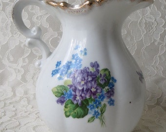 Vintage Lefton China Hand Painted Spring Bouquet Collection 4585 Forget Me Nots & Iris Pitcher