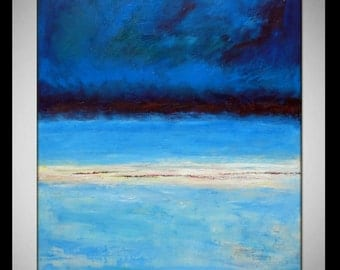 Abstract BLUE Painting ORIGINAL Artwork Large Blue Abstract Oil Painting Modern Decor - HORIZON  by BenWill