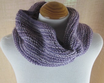 Lilac Purple Striped Knit Pure Wool Cowl Scarf