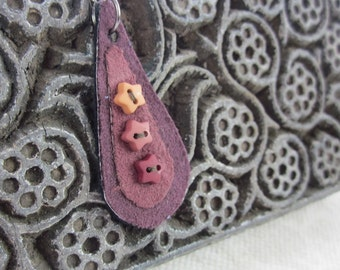 Maroon Red Button Teardrop Fabric Pendant Necklace