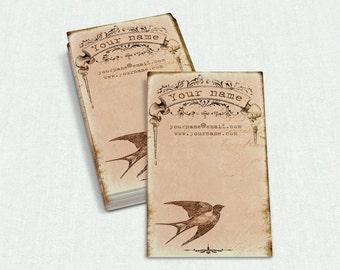 Business Cards  Custom Business Cards  Personalized Business Cards  Business Card Template  Vintage Business Cards  Bird Business Card V22