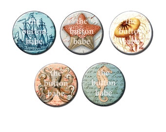 Nautical Design Five Magnet Set - Can Be Used As Magnetic Necklace or Bracelet Charms - Seahorse, Octopus, Jellyfish, Pirate Ship, Starfish