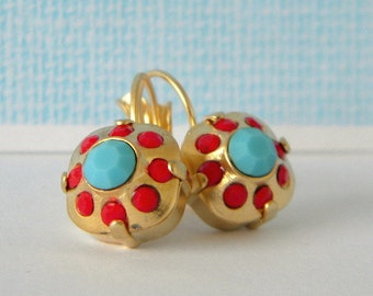 Swarovski Turquoise Cherry Red Cushion Cut Gold or Silver Leverback Earrings