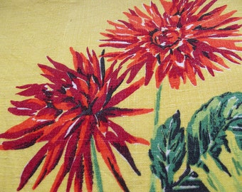 Vintage Kitsch Tea Towel -Red and Orange Giant Chrysanthemums on a Lemon Yellow background