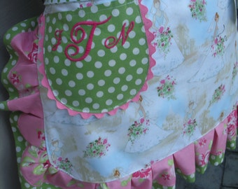 Monogrammed Bridal Aprons - Womens Aprons - Wedding Aprons - Here Comes The Bride Aprons - Shabby Chic Handmade Apron - AnniesAttic Aprons