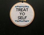 Treat Yo Self with geometric design -blues and grey - 4 inch wooden hoop - cross stitched - wall hanging Hoop Art -