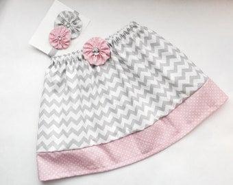 Girls Boutique grey chevron and pink polka dots skirt....matching headband...girls clothing