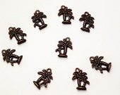 Antiqued Copper Palm Tree Charms- lead free charms- lead free pendants- palm tree charms- jewelry findings- jewelry supplies- copper charms