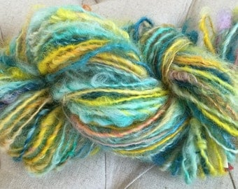 Handspun Yarn- SUMMER BREEZE -bulky, textured, crochet, knitting,weaving supplies, doll hair 100yds