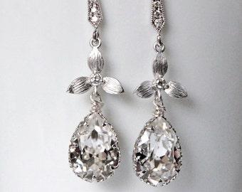 Bridal Chandelier Swarovski Crystal Pearl Cubic Zirconia Drop Earrings, Pearl Earrings, Wedding Jewelry  - Glistening Evette With Pearls