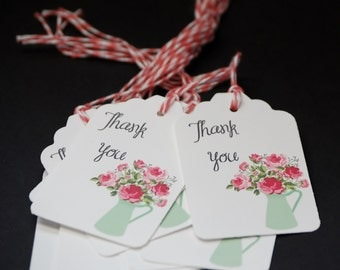 Pitcher of Roses, thank you tags, set of 10, hang tags