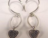 Sweet Heart dangle Earrings Argentium Silver