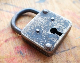 Antique Steel Padlock // Fall Sale 20% OFF - Coupon Code FALL20