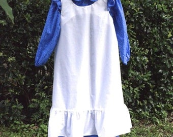 Girl, size 8/10, pioneer costume, sapphire blue and white.