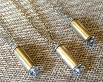 Crystal Bullet Casing Necklace - Brass 22mm Bullet Casing Necklace with Clear Swarovski Crystal - Tiny Bullet Necklace - Layering Jewelry