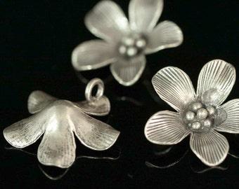 4KH-038 thai karen hill tribe silver 2 flower charm
