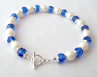 Blue Crystal and White Textured Pearl Stretch Bracelet with Silver Toggle Clasp Blue Bracelet Pearl Bracelet Beaded Bracelet BE1865