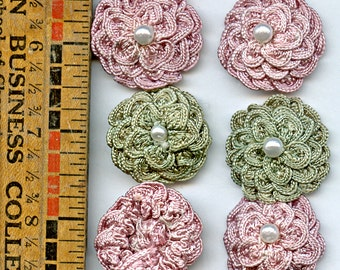 Millinery ROSETTES (6) Dusty Rose Sage Flower Hand Made Vintage Pink Green Pearl 9972
